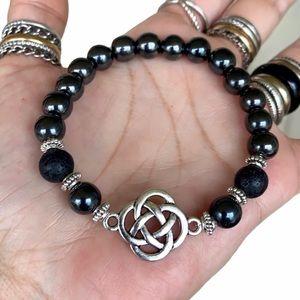 Silver Celtic knot lava rock & hematite bracelet